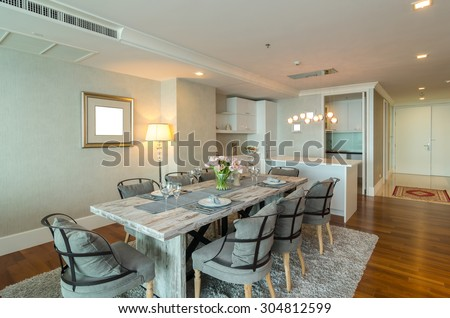 BANGKOK, THAILAND   APRIL 25 : Luxury Interior Living Room With Kitchen  Zone And Restaurant Part 24