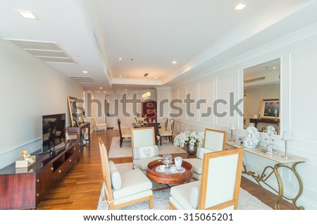 BANGKOK, THAILAND   APRIL 25 : Luxury Interior Living Room With Kitchen  Zone And Restaurant Part 82