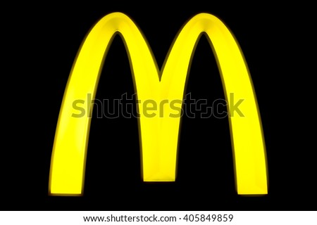 BANGKOK, THAILAND - April 6, 2016:  McDonalds sign with the famous M sign at a black board during evening. McDonalds Corporation is the worlds largest chain of hamburger fast food restaurants - stock photo