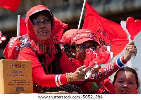 BANGKOK, THAILAND - APRIL 6: Members of the Red Shirts movement who try to force prime minister Abhisit Vejjajiva to resign by staging huge demonstrations on April 6, 2010 in Bangkok, Thailand.