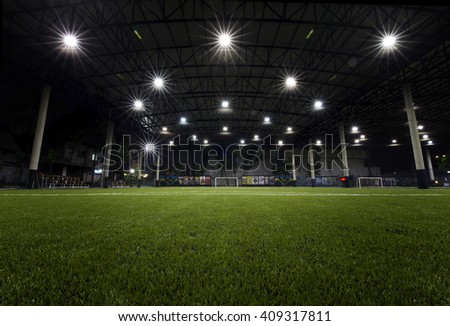 Bangkok,THAILAND, -21 APRIL 2016 : Night Time at Football field indoor of Thailand it stay in capital Bangkok,Thailand