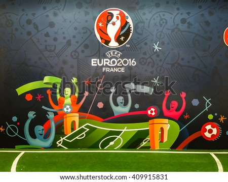 Bangkok, Thailand - April 23, 2016: Official logo of the 2016 UEFA European Championship in France on billboard. - stock photo