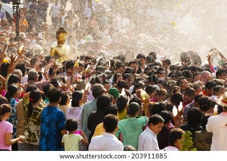 Bangkok Thailand, 13 April: Songkran Festival, Nong Khai festival.The of bathing Buddha Sing walks annually. With respect to faith.on April 13,2013 in Bangkok Thailand. - stock photo