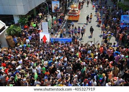 BANGKOK, THAILAND - APRIL 13, 2016: Songkran in Thailand is officially observed between the 13th and 15th of April, Songkran festival on April 13, 2016 at Silom Road in Bangkok.