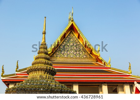 Bangkok, Thailand - April 20th 2016 - Details of the buddhist temple of Wat Pho temple in Bangkok in Thailand, Asia