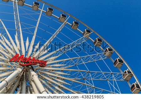 Bangkok, Thailand - April 15th, 2016 : Ferris wheels with blue sky. Ferris wheels  at Asiatique the riverfront is landmark in Bangkok, Thailand