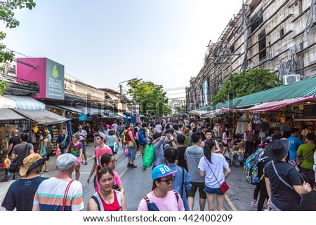 Bangkok, Thailand - April 25th 2016 - Tourist people in a open street market in Bangkok in Thailand.
