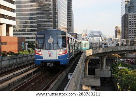 Bangkok, Thailand - April 28, 2015: The Bangkok Mass Transit System , known as BTS or Skytrain, is an elevated rapid transit system in Bangkok. The system consists of 34 stations along two lines.