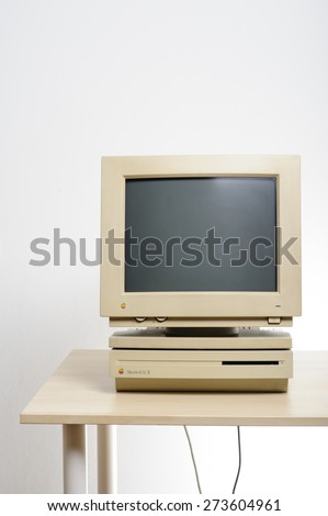 BANGKOK, THAILAND - APRIL 29, 2015: The Macintosh LC II. The Macintosh LC (low-cost color) is Apple Computer's product family of low-end consumer Macintosh personal computers in the early 1990s. - stock photo