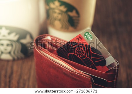 BANGKOK, THAILAND - APRIL 23, 2015: The Starbucks card 2015 in Thailand.  - stock photo