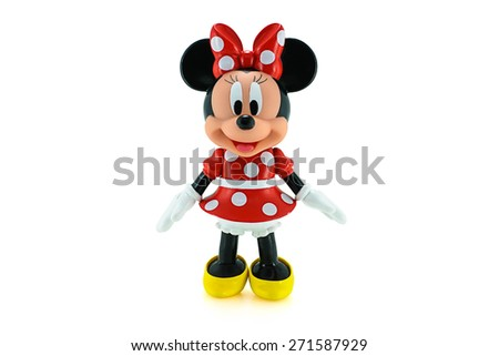 Bangkok, Thailand - April 22, 2015: Toddler Minnie mouse action figure from Disney character. This character from Mickey mouse and friend animation series. - stock photo