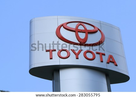 BANGKOK THAILAND - APRIL 20, 2015: Toyota Japanese car. Toyota is the world's first automobile manufacturer to produce more than 10 million vehicles per year and the largest listed company in Japan.  - stock photo
