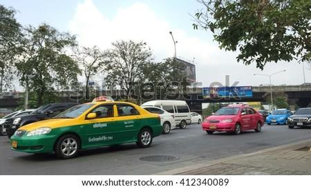 BANGKOK, THAILAND - APRIL 28: Traffic jam in rush hour at Ratchadapisek Road on April 28, 2016 in Bangkok, Thailand. - stock photo
