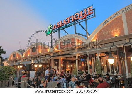 BANGKOK THAILAND - APRIL 19, 2015: Unidentified people dine at Asiatique. Asiatique The Riverfront is a large open-air mall in Bangkok situated along chao phraya river opened in 2012.