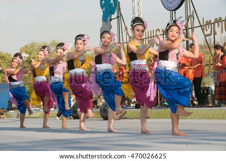 BANGKOK,THAILAND - APRIL 20,2015 : Unidentified Thai dancer perform traditional Thai dance during festival on The 233 rd Year of Rattanakosin City in Bangkok,Thailand.The show is open free for public.