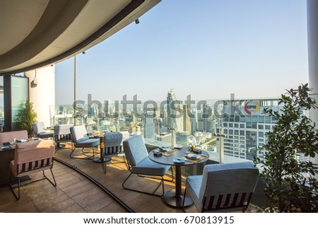 BANGKOK, THAILAND-April 8, 2016:View from Uno Mas is a unique Rooftop and Restaurant Spanish & Mediterranean cuisine at Centara Grand CentralWorld Bangkok, Thailand.