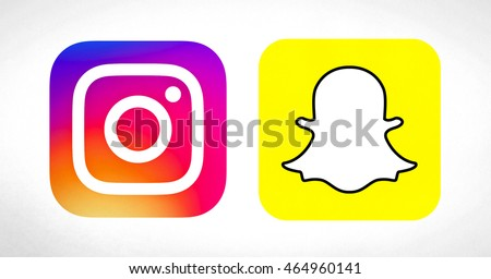 Bangkok, Thailand - Aug 5, 2016 - Popular social media icons : Instagram new logo icon and Snapchat logo icon printed on paper. Instagram and snapchat is a popular social networking for sharing photo.
