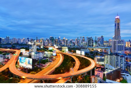 BANGKOK, THAILAND - August 23: Bangkok view, Above view from skyscraper in the city on August 23, 2015 in Bangkok Thailand - stock photo