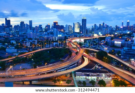 BANGKOK, THAILAND - August 31: Bangkok view, Above view from skyscraper in the city on August 31, 2015 in Bangkok Thailand - stock photo