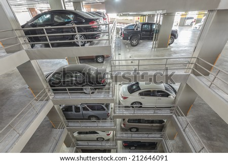 Bangkok ,Thailand-August 24 2014 carpark building in condo,many people in bangkok have a problem not enough parking space - stock photo
