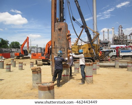 bangkok ,thailand - august 01,2016 : Engineers are testing load resistance of pile by Dynamic pile load test methods.