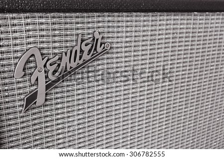 BANGKOK, THAILAND - AUGUST 4 : Fender Logo on Guitar Power Amplifier as vintage background music theme, Bangkok, Thailand on 4 August 2015 - stock photo