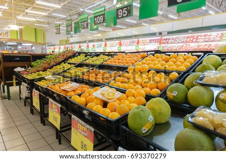 BANGKOK, THAILAND - AUGUST 9, 2017: Fruit department that has various of fruit, at Big C BangBon, Big C Supercenter general merchandise retailer headquartered in Bangkok, Thailand