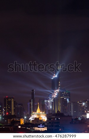 BANGKOK - THAILAND 29 AUGUST, 2516 : Grand opening for Mahanakhon cube,. Mahanakhon is the new highest building in Bangkok.Image is soft focus.