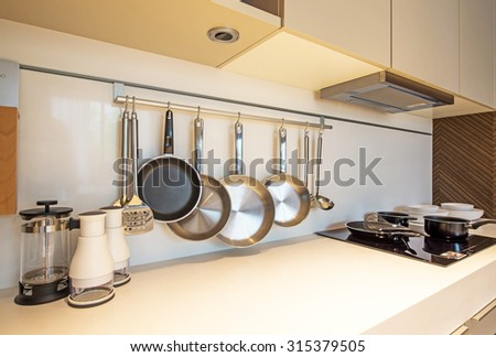 BANGKOK, THAILAND - August 13 : Kitchen interior design at the perfect home for a new family. on August 13, 2015 in Bangkok, Thailand - stock photo