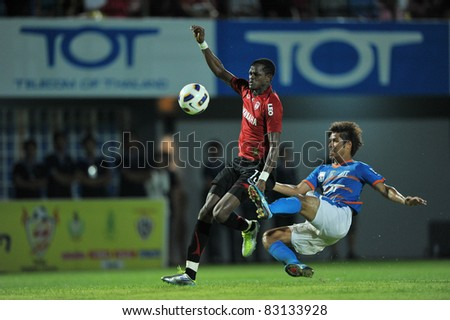 BANGKOK, THAILAND- AUGUST 20: Kouakou Yao Christian of MTUTD in action during Thai Premier League (TPL) between TOT SC and Muangthong United on August 20, 2011 at TOT Stadium in Bangkok, Thailand