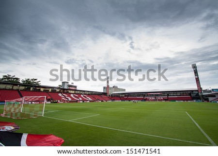 BANGKOK,THAILAND-AUGUST 25: Landscape of SCG Mungtong Stadium during The TPL 2013 between SCG Mungthong United FC and Bangkok United FC at SCG Mungthong Stadium on Aug 25, 2013 in,Thailand.