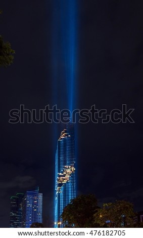 BANGKOK - Thailand - August 29, 2016: Light show in grand opening for Mahanakhon cube, Mahanakhon is the new highest building in Bangkok, Thailand
