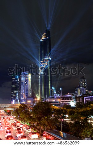 Bangkok,Thailand - August 29 , 2016 :Lighting show at Mahanakhon tower in night time. New highest building landmark in Thailand