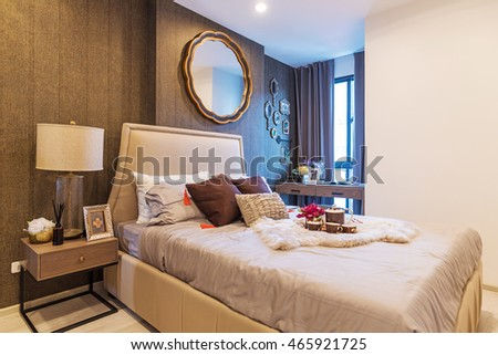 BANGKOK, THAILAND - August 8 : Luxury Interior bedroom at the perfect apartment for a new family. on August 8, 2016 in Bangkok, Thailand