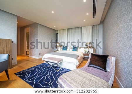 BANGKOK, THAILAND - August 13 : Luxury Interior bedroom at the perfect home for a new family. on August 13, 2015 in Bangkok, Thailand