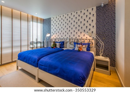 BANGKOK, THAILAND - August 13 : Luxury Interior bedroom at the perfect home for a new family. on August 13, 2015 in Bangkok, Thailand - stock photo