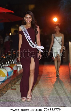 "Bangkok, Thailand - August 31, 2017 ; Miss Pageant Contest ""Miss Supranational Thailand 2017"", Fashion Show Pool Party at B-Lay Tong Hotel for relaxation"