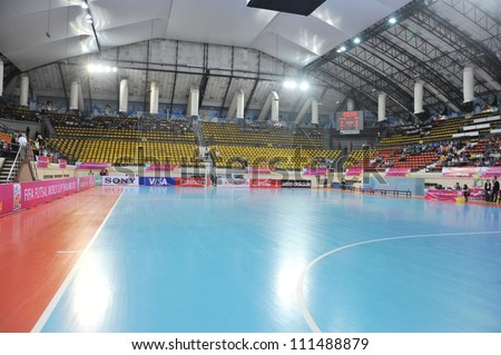 BANGKOK THAILAND - AUGUST 24 :Nimibutr Stadium of Thailand in Friendly futsal match Between Thailand VS Spain at Nimibutr Stadium on August 24,2012 in Bangkok,Thailand. - stock photo