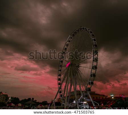 Bangkok,Thailand - August, 2016:On August 7, 2016. Soft focus of Asiatique The Riverfront is a large open-air mall in Bangkok, Thailand. and faces the Chao Phraya River. Pink tone