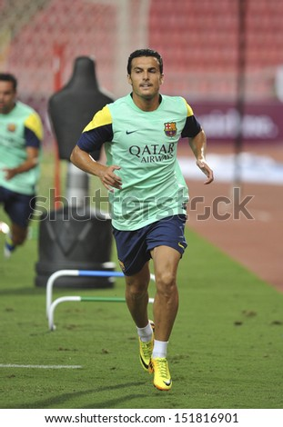 BANGKOK, THAILAND-AUGUST 06:Pedro of Barcelona FC in action during Barcelona FC training session at Rajamangala Stadium on August 06, 2013 in Bangkok,Thailand.