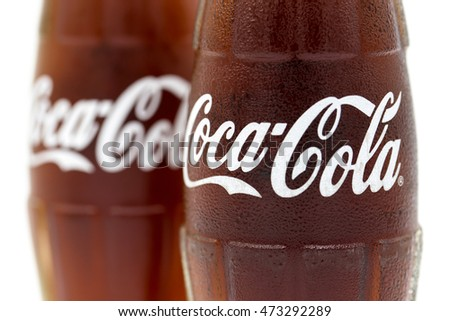 BANGKOK THAILAND - August 23, 2016 Photo of 250ml Classic Coca-Cola glass bottle on White Background. Coca Cola drinks are produced and manufactured by The Coca-Cola Company