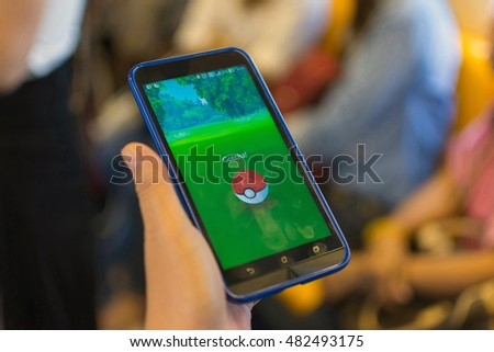 Bangkok, Thailand - August 27, 2016 : Pokemon Go application game on android mobile smartphone. Launched in Thailand on August 6, 2016 is very popular. But the problem of road accidents.