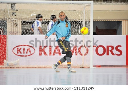 BANGKOK THAILAND - AUGUST 24 : Rafa Fernandez in action during Friendly futsal match Between Thailand VS Spain at Nimibutr Stadium on August 24,2012 in Bangkok,Thailand. - stock photo