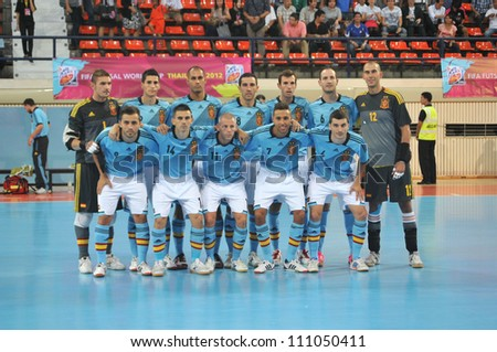 BANGKOK THAILAND - AUGUST 24 : Spain Team in Friendly futsal match Between Thailand VS Spain at Nimibutr Stadium on August 24,2012 in Bangkok,Thailand. - stock photo
