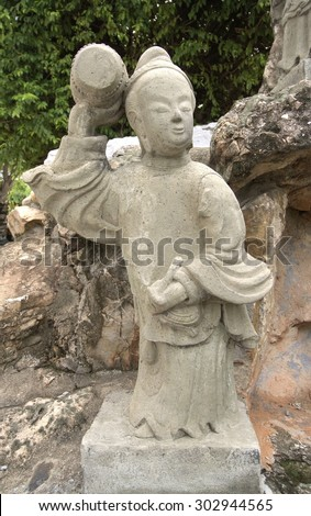 BANGKOK, THAILAND - August 1 :stone statue chinese style at Wat Pho Bangkok, Thailand on August 1, 2015
