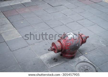 Bangkok, Thailand - August 7, 2015: Sukhumvit, Thailand on August 7,2015. An un used Fire hose connection on Sukhumvit road. - stock photo