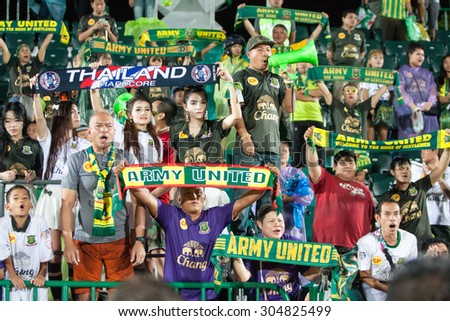BANGKOK THAILAND-AUGUST 1: Supporter of Army United F.C shot photo during Thai Premier League between Army United F.C.and TOT SC. at Thai Army Stadium on August 1 ,2015 in Thailand - stock photo