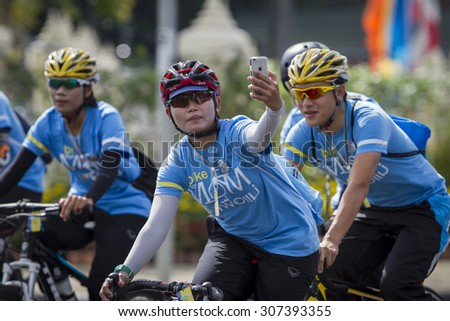 BANGKOK,THAILAND:AUGUST;2015: Thailand people out cycling together over one hundred thousand people to the Queen at Bangkok; AUGUST 16,2015 in Bangkok Thailand.