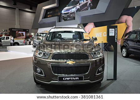 BANGKOK, THAILAND - AUGUST 6: The Chevrolet Captiva is on display at the Bangkok International Grand Motor Sale 2015 at Bitec on August 6, 2015 in Bangkok, Thailand.