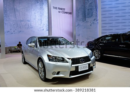 BANGKOK, THAILAND - AUGUST 6: The Lexus GS300h is on display at the Bangkok International Grand Motor Sale 2015 at Bitec on August 6, 2015 in Bangkok, Thailand.
